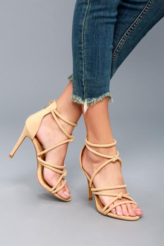 Josette Nude Suede Dress Sandals 2