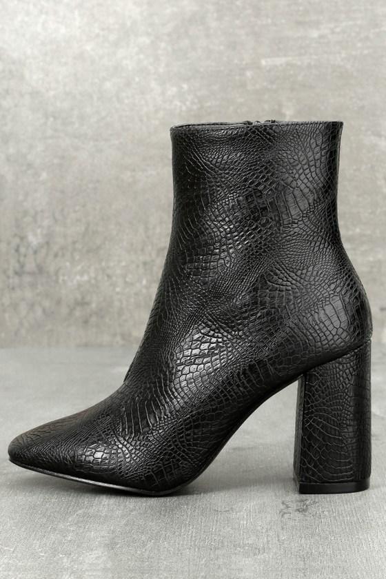 My Generation Black Snake High Heel Mid-Calf Boots 1