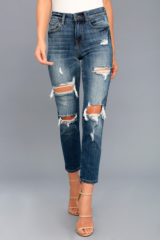 2454df143a4 Cool Medium Wash Jeans - Distressed High Waisted Jeans