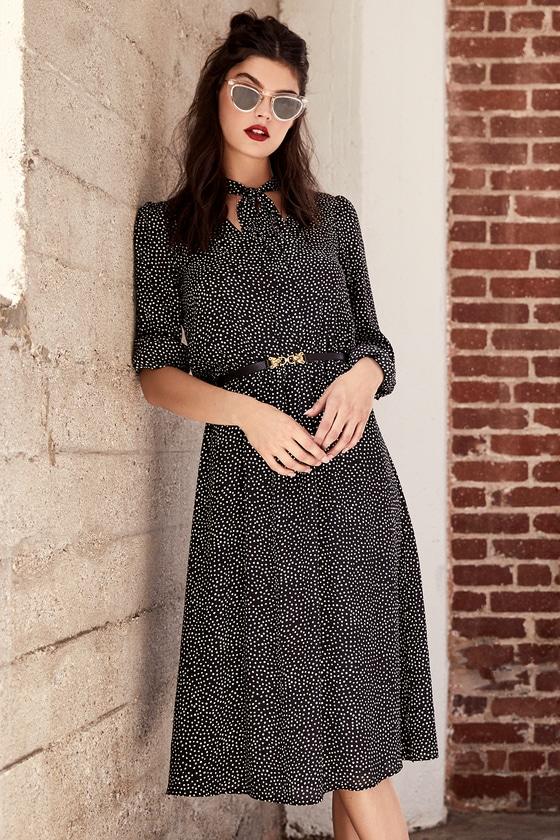 Save a Spot Black Polka Dot Long Sleeve Midi Dress 5