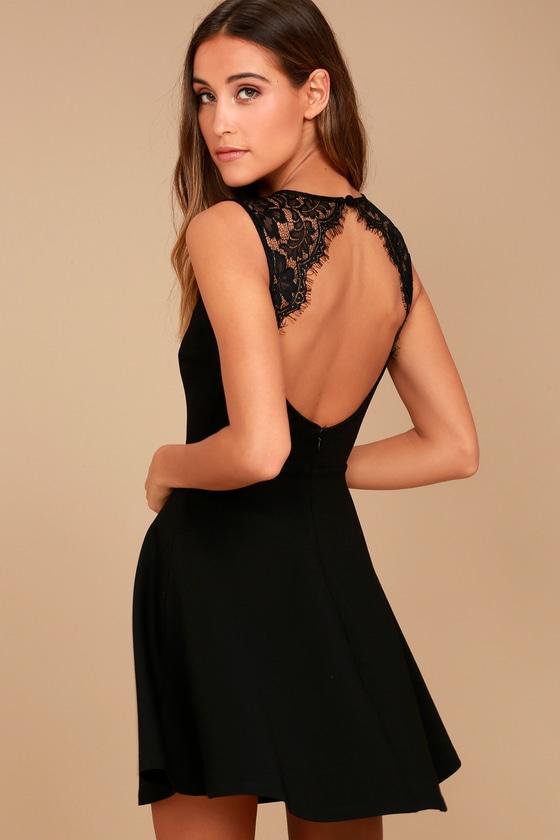 bcda901844 Cute Black Dress - Lace Skater Dress - Backless Skater Dress