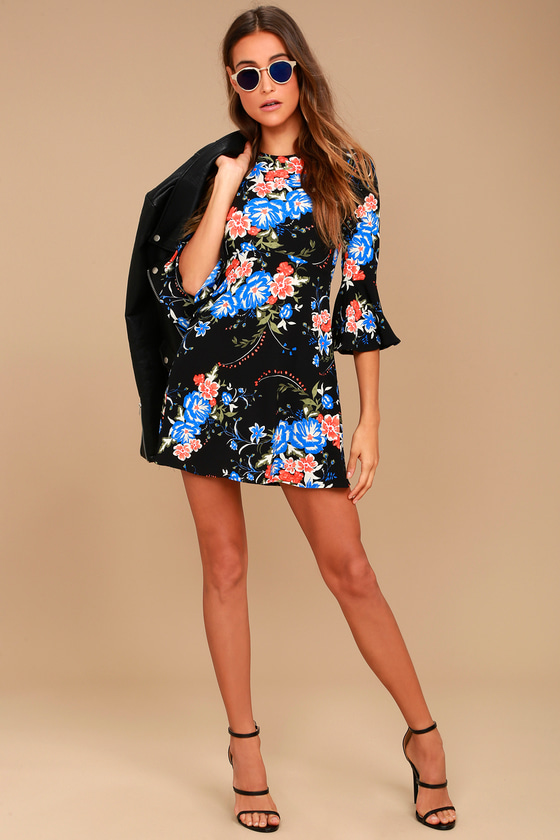 Welcome Back Black Floral Print Skater Dress 2