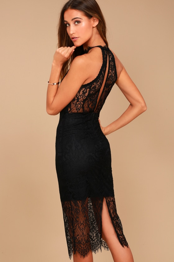 b0613ca30fc Sexy Black Dress - Lace Halter Dress - Midi Dress