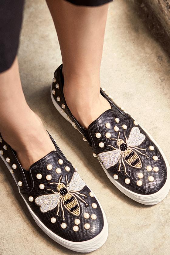 Steve Madden Polly Black Multi Embroidered Slip-On Sneakers 5