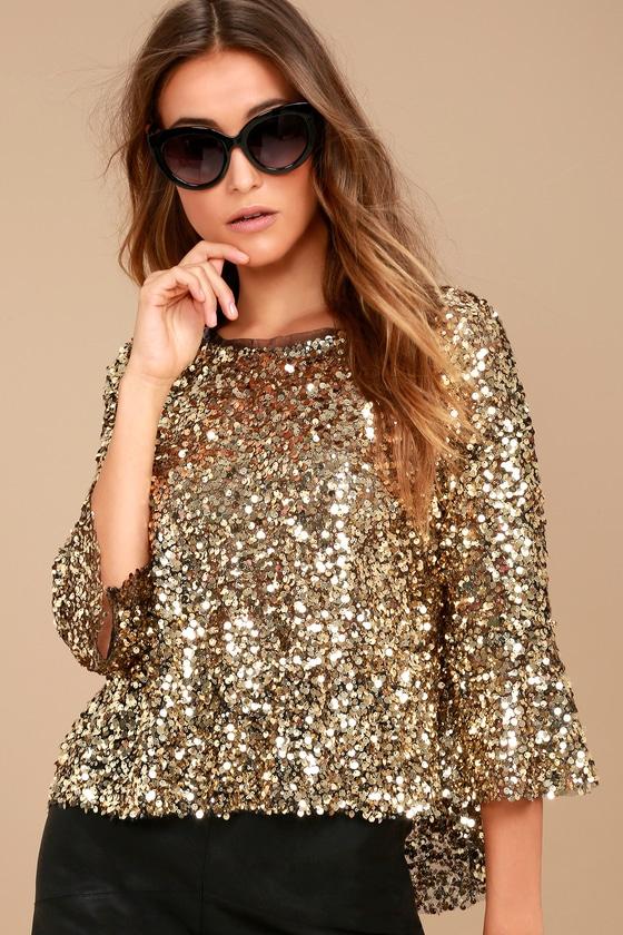 b84c5ec49b Stunning Gold Top - Sequin Top - Three-Quarter Sleeve Top