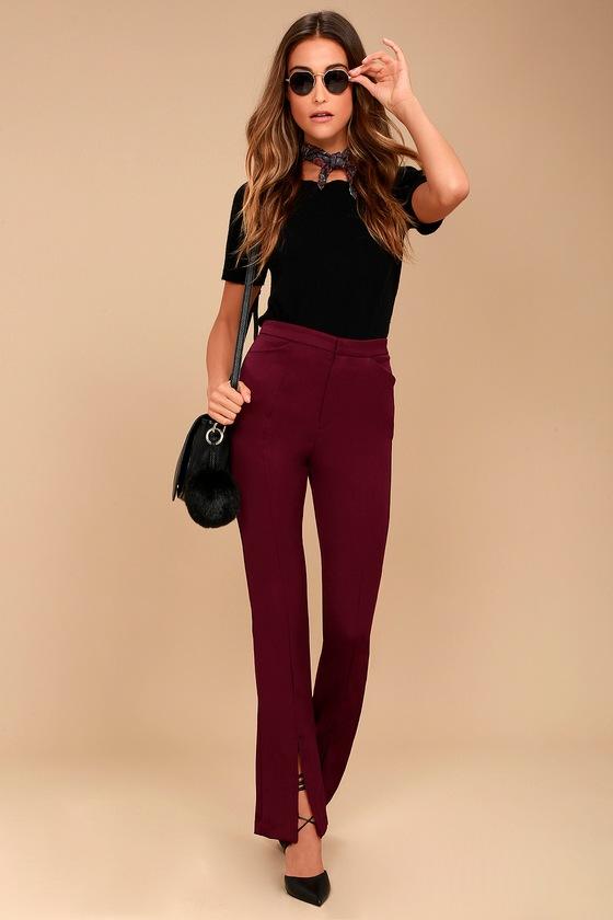 Her Life Burgundy High Waisted Trouser Pants 1