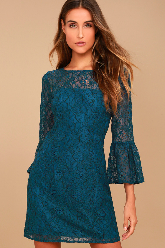 BB Dakota Billie Teal Blue Lace Dress 1