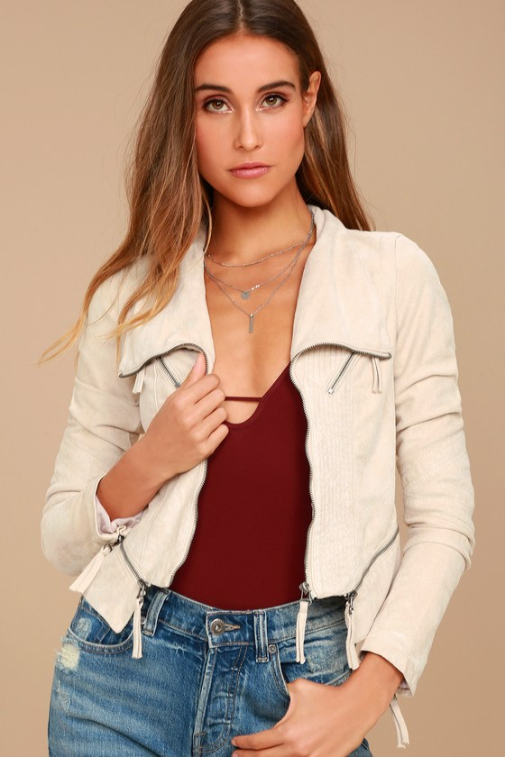 Ready for Anything Cream Suede Moto Jacket 1
