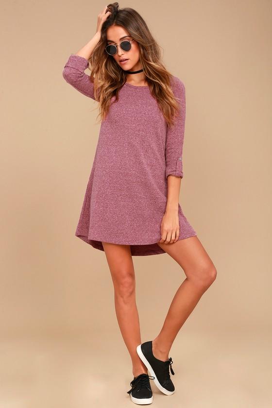 4b6bf1f72605 Cute Washed Burgundy Dress - Long Sleeve Dress - Swing Dress