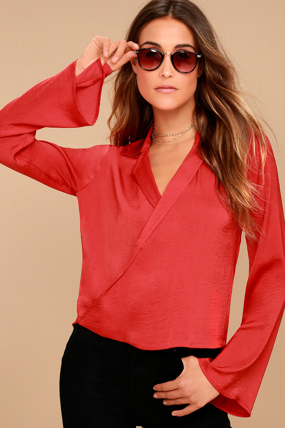 Down to Business Red Long Sleeve Wrap Top 2