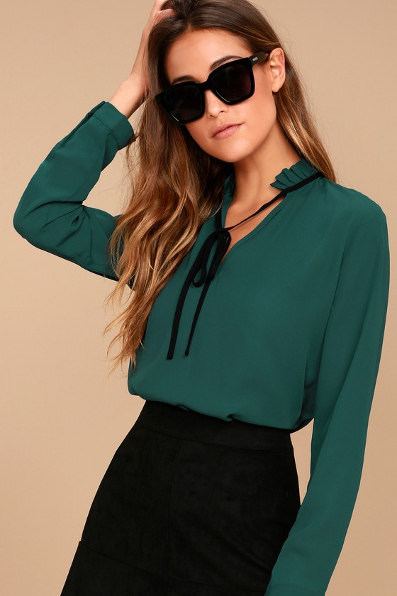 327ed95ebeb46 Chic Teal Blue Blouse - Long Sleeve Blouse - Tie Neck Blouse