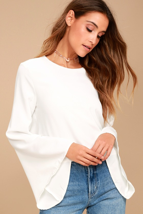 Be My Belle White Bell Sleeve Top 1