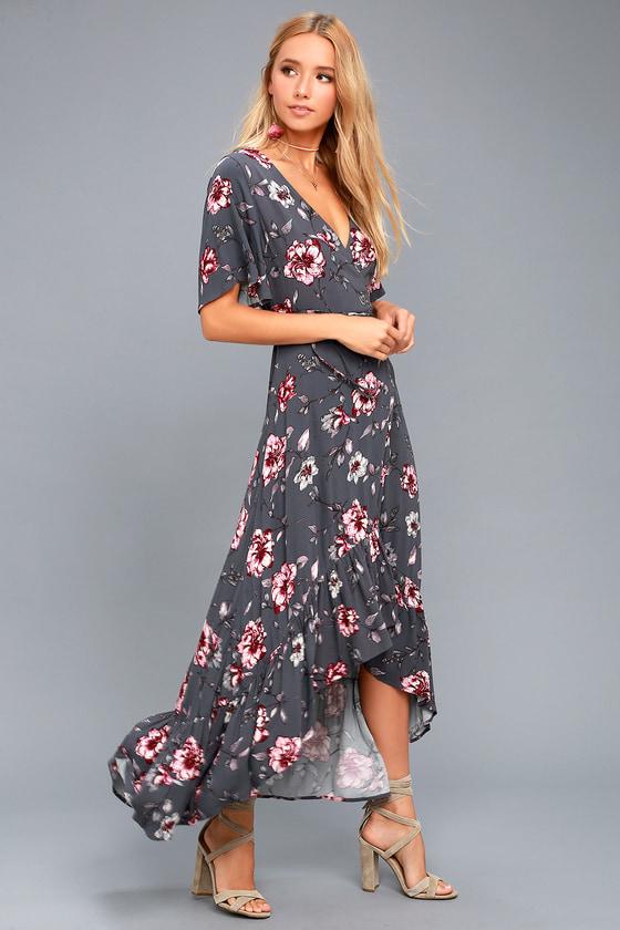 Chic Wrap Dress Floral Print Dress High Low Wrap Dress