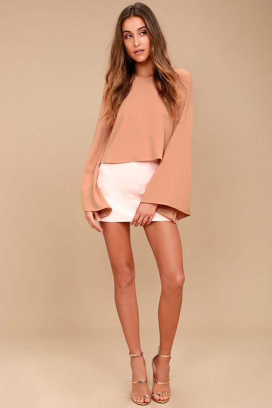 0238a581ee9 Chic Bell Sleeve Top - Blush Top - Office Wear