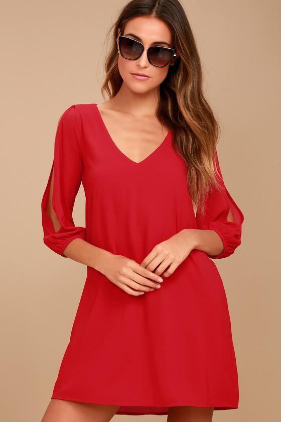 f3ab5694f2f Pretty Red Dress - Shift Dress - Cold Shoulder Dress -  40.00