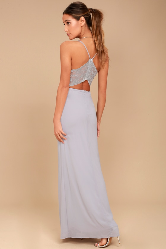 Story of a Starry Night Grey Backless Lace Maxi Dress 6