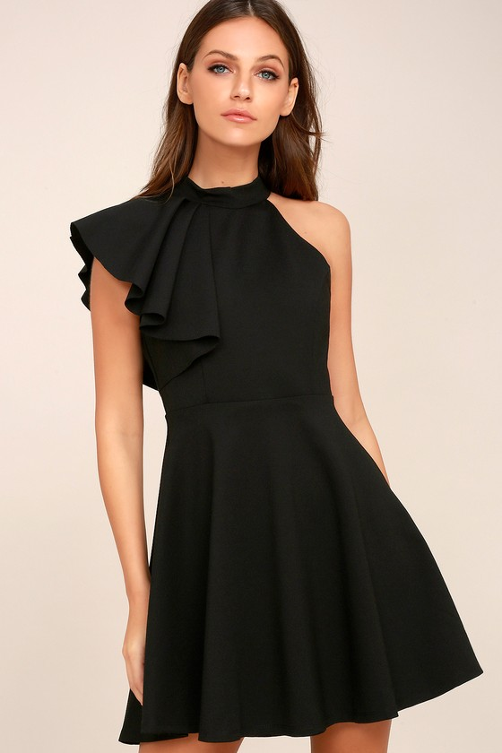 Cute Black Dress - Skater Dress - One-Shoulder Dress