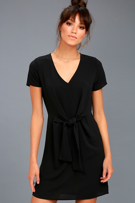 Belong to the City Black Knotted Shift Dress 4