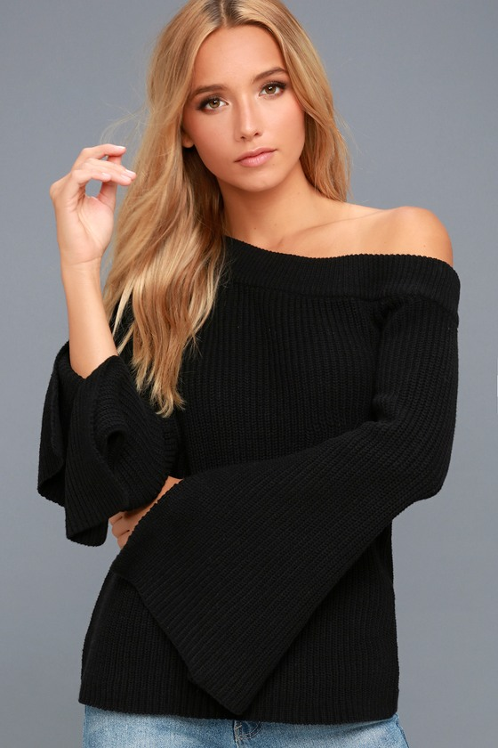 Glad to See Ya Black Off-the-Shoulder Sweater 4