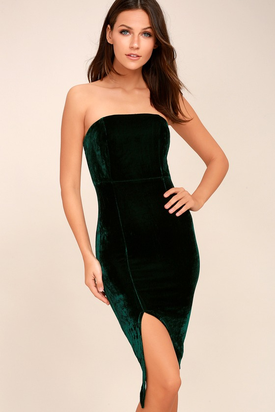 Hey Baby Forest Green Velvet Strapless Bodycon Dress 1