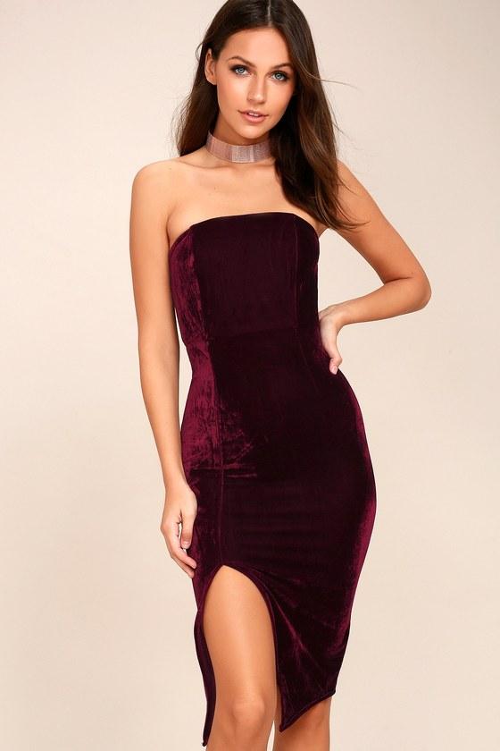 Sexy Burgundy Dress Bodycon Dress Strapless Dress