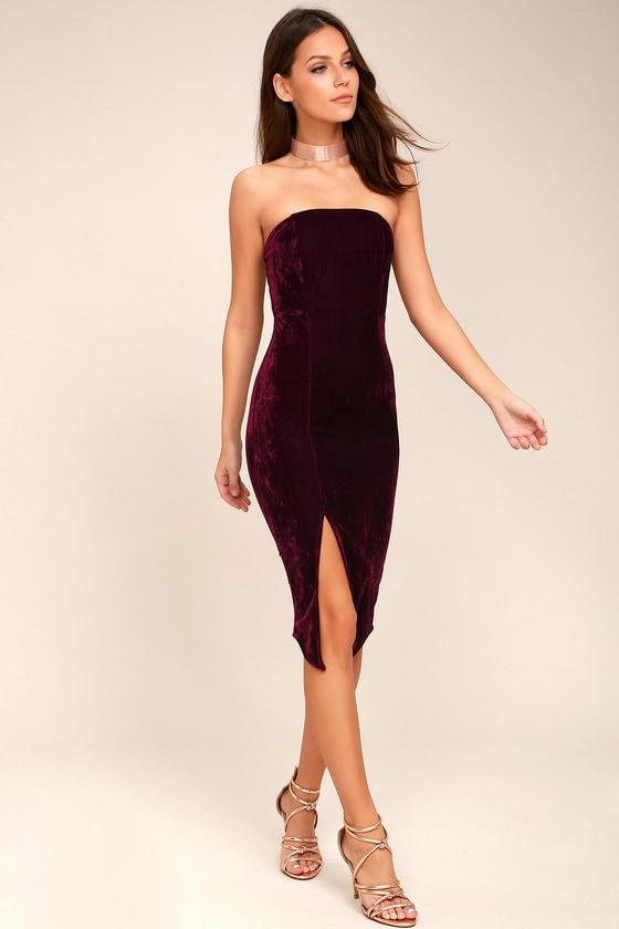 1bcc63620eab Sexy Burgundy Dress - Bodycon Dress - Strapless Dress