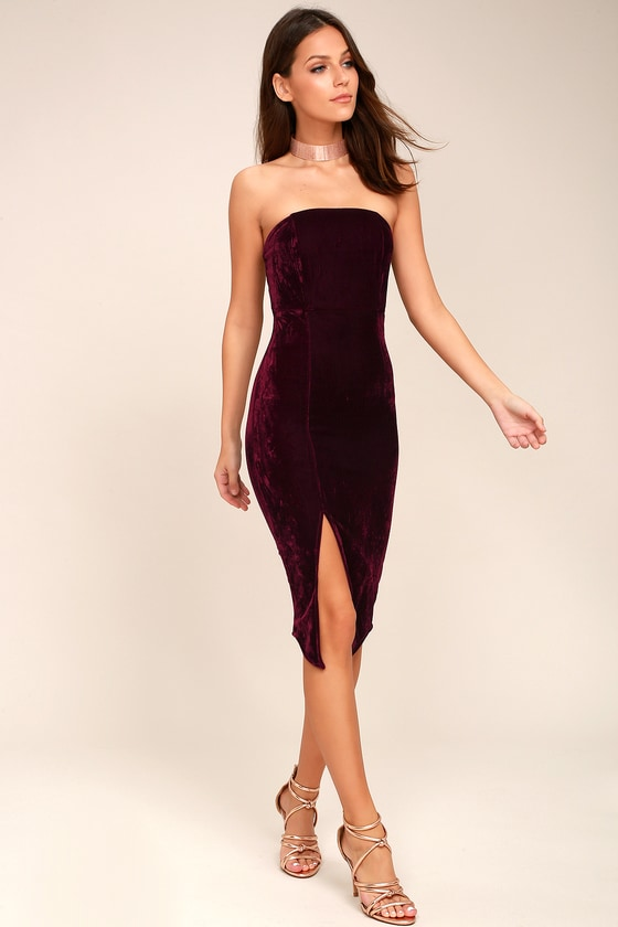 1cb1d8a1371 Sexy Burgundy Dress - Bodycon Dress - Strapless Dress