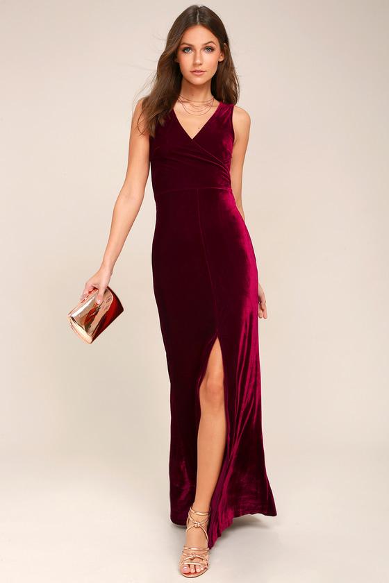 Crushin' It Burgundy Velvet Maxi Dress 2
