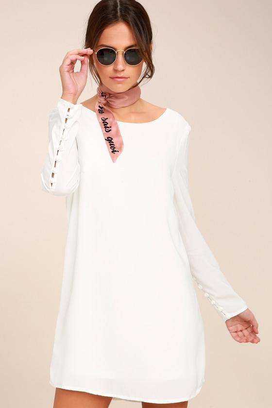 Upbeat Chic White Long Sleeve Shift Dress 3