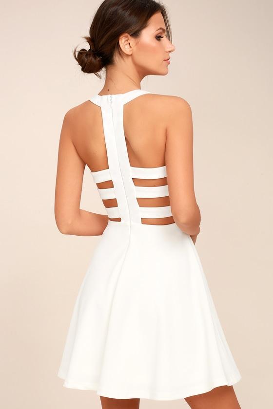 Call Back White Backless Skater Dress 3