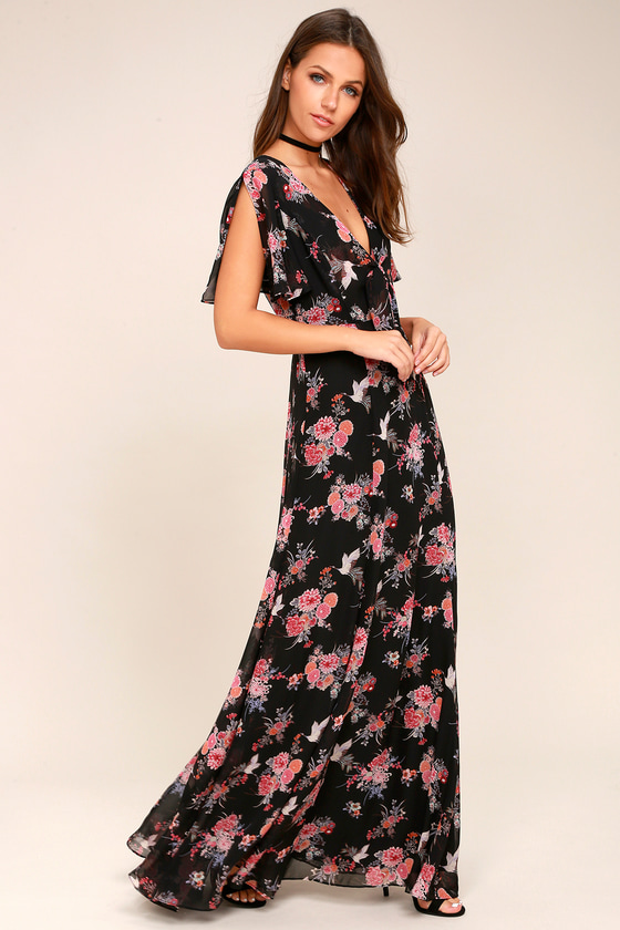 Wings of Love Black Floral Print Maxi Dress 2