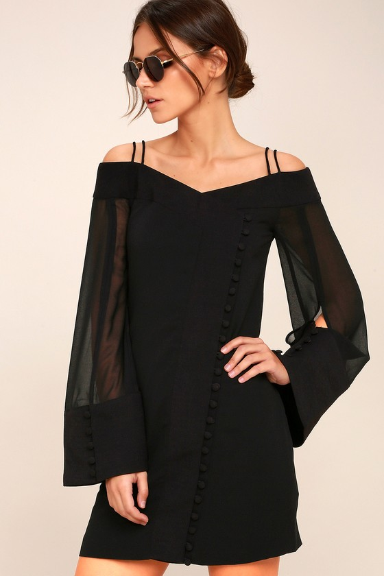 C/MEO Presence Black Long Sleeve Off-the-Shoulder Dress 2