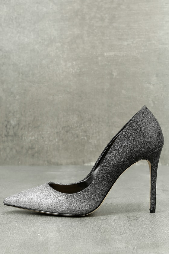 Daya by Zendaya Kyle Silver and Black Glitter Pumps 1