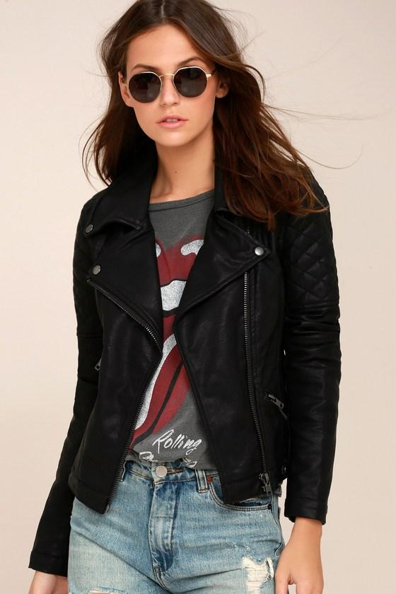 Right On Black Vegan Leather Moto Jacket 1