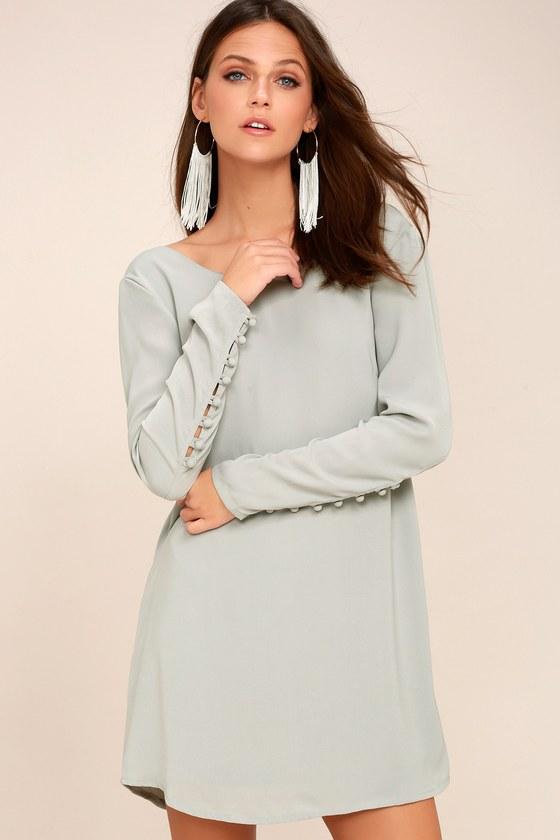 Upbeat Chic Light Grey Long Sleeve Shift Dress 1