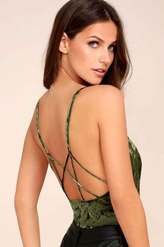 Crushing on You Olive Green Crushed Velvet Bodysuit 2