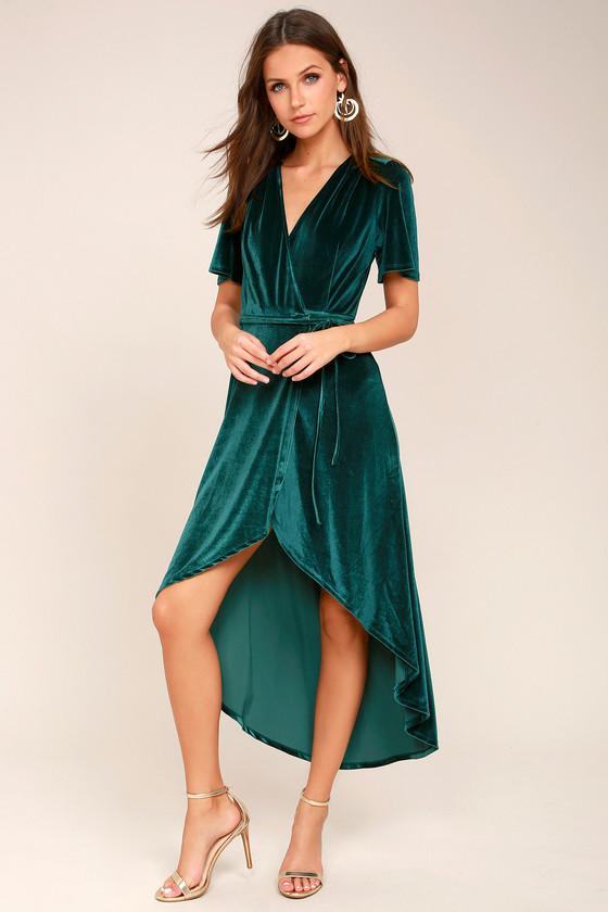 Amour Teal Green Velvet High-Low Wrap Dress - Lulus