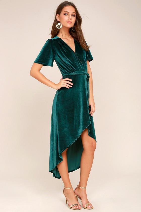Lovely Teal Green Dress - Velvet Wrap Dress - Midi Dress ...