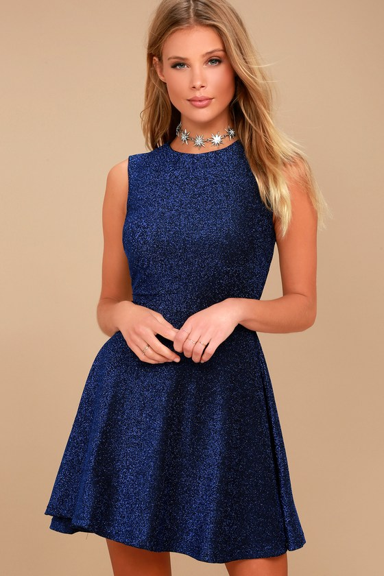 22218a7a100 Stunning Blue Dress - Skater Dress - Metallic Dress