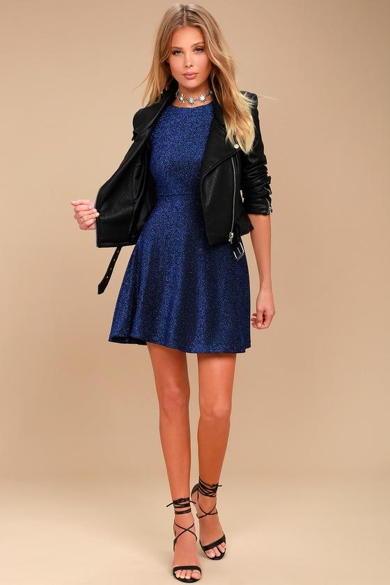 4160cdc5bb Stunning Blue Dress - Skater Dress - Metallic Dress