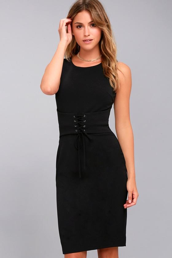 Say So Black Lace-Up Bodycon Midi Dress 4