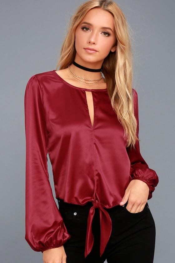 af7ecef78 Cute Wine Red Satin Top - Long Sleeve Top - Tying Top