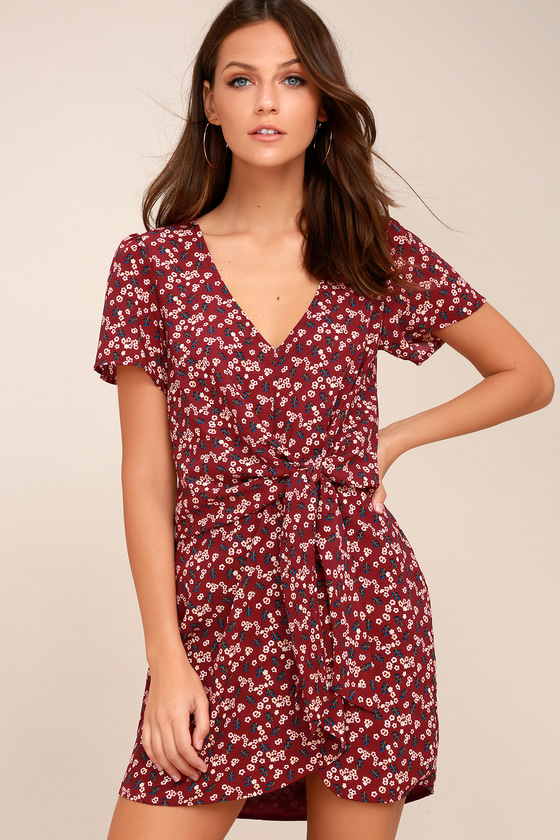 Floral Support Wine Red Floral Print Knotted Dress 2