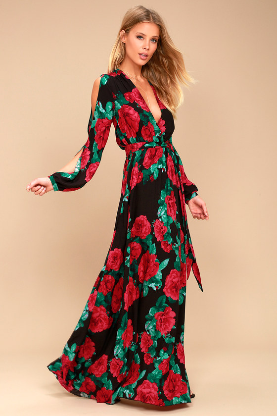 Lovely Black Floral Print Maxi - Long Sleeve Maxi Dress