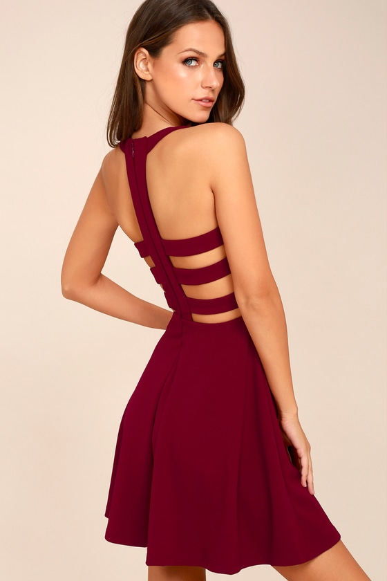 Call Back Wine Red Backless Skater Dress 3