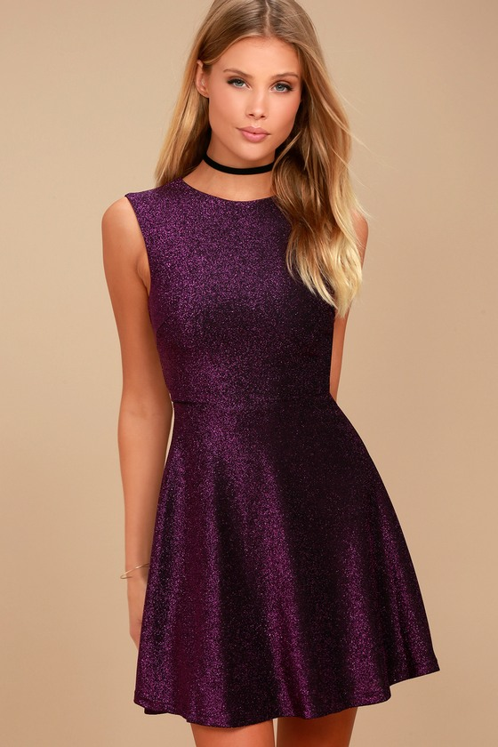Into the Night Purple Skater Dress