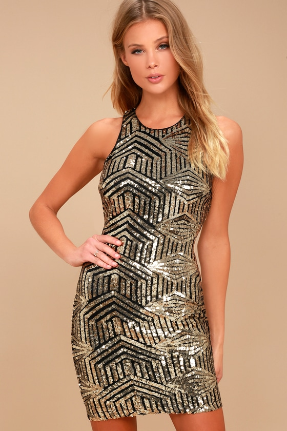 5c0f5b8305d Stunning Sequins Dress - Gold Dress - Bodycon Dress