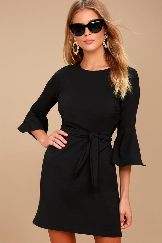 Last Love Song Black Tie-Waist Dress - Lulus