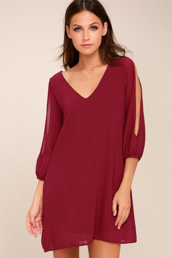 7614ab9a1d5 Pretty Wine Red Dress - Shift Dress - Cold Shoulder Dress