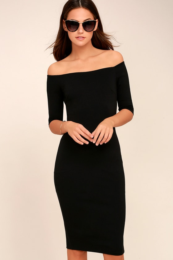 Girl Can't Help It Black Off-the-Shoulder Midi Dress 1